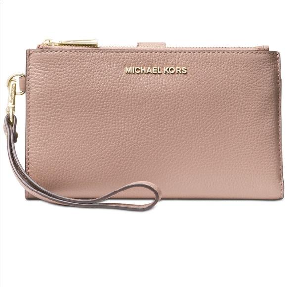 5eadc9623432 Michael Kors Adele double zip leather wristlet